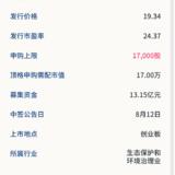 新股申购:圣元环保8月10号申购