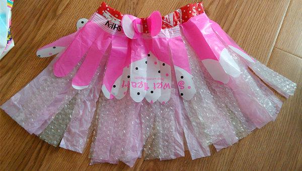 塑料袋制作衣服_#巧手父母#塑料袋制作的公主裙-她理财网