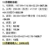 【记录理财收益】11月份+2490.8